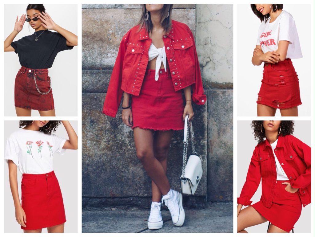 красная джинсовая юбка фото