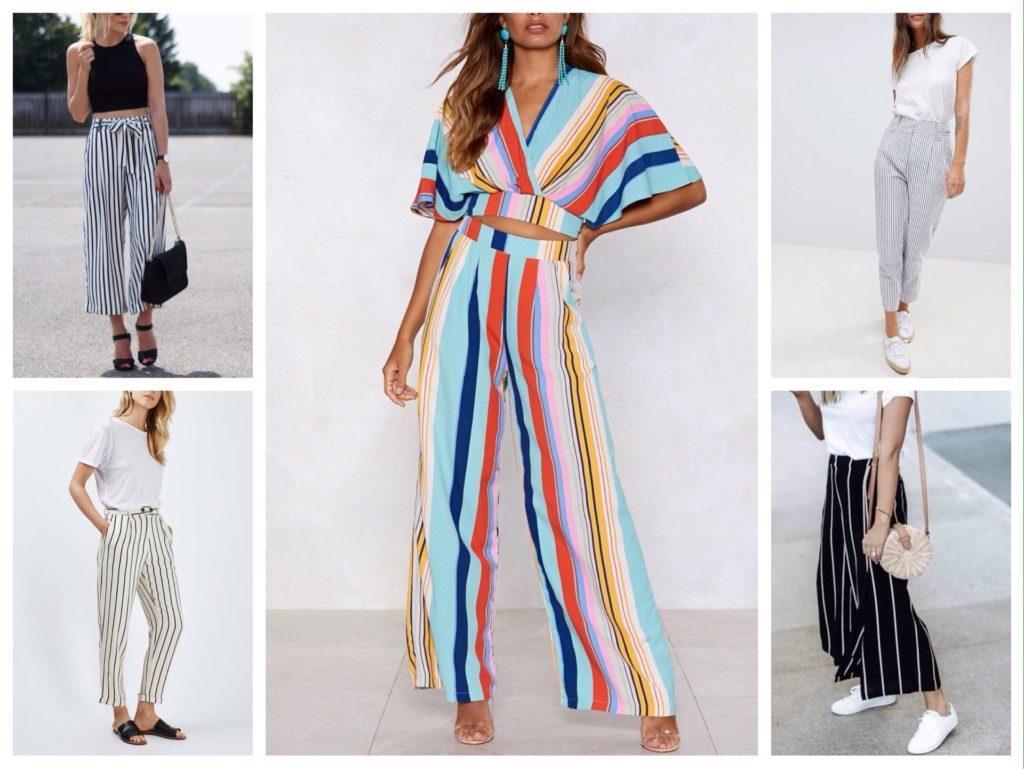 летние комплекты с полосатыми брюками