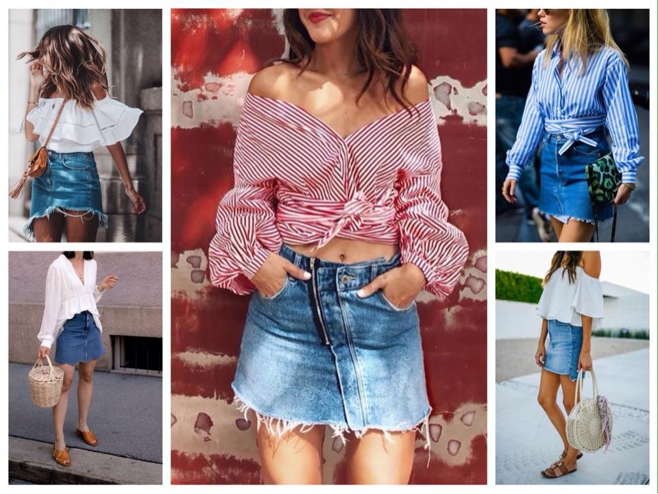 летние образы с короткой джинсовой юбкой