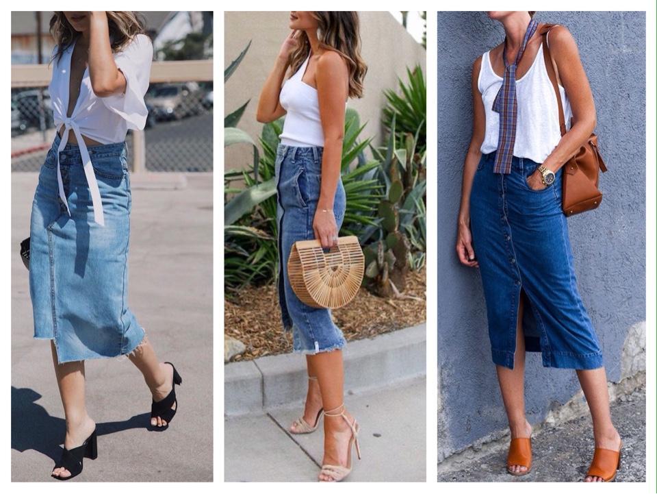 миди юбка джинсовая фото