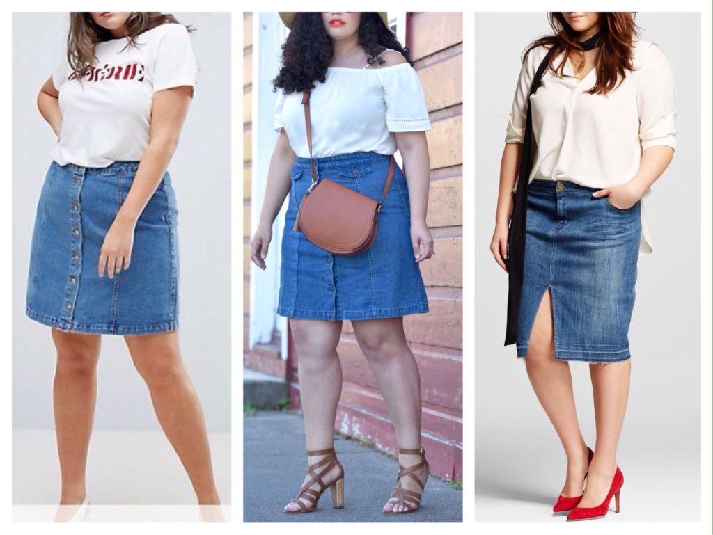 модели джинсовой юбки полным