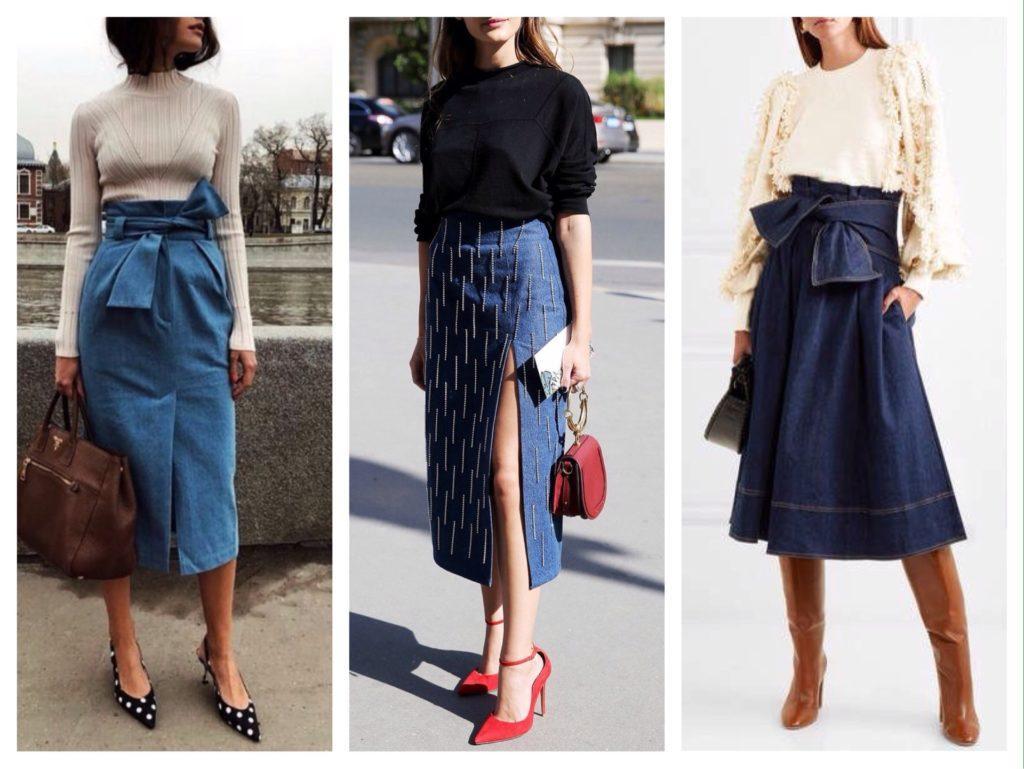 модели джинсовых юбок миди