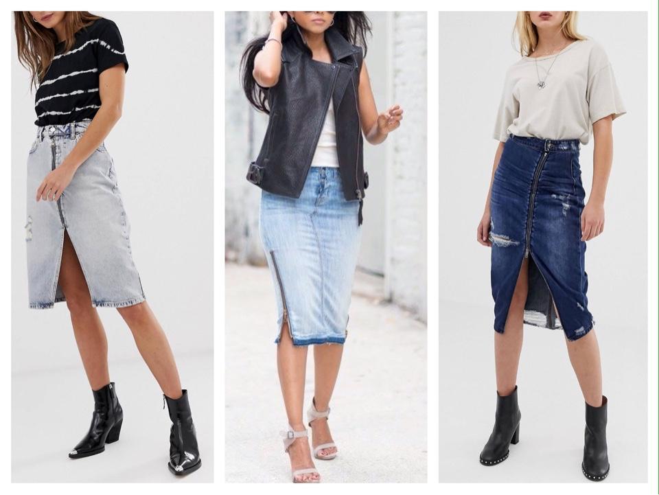 модели джинсовых юбок с молнией