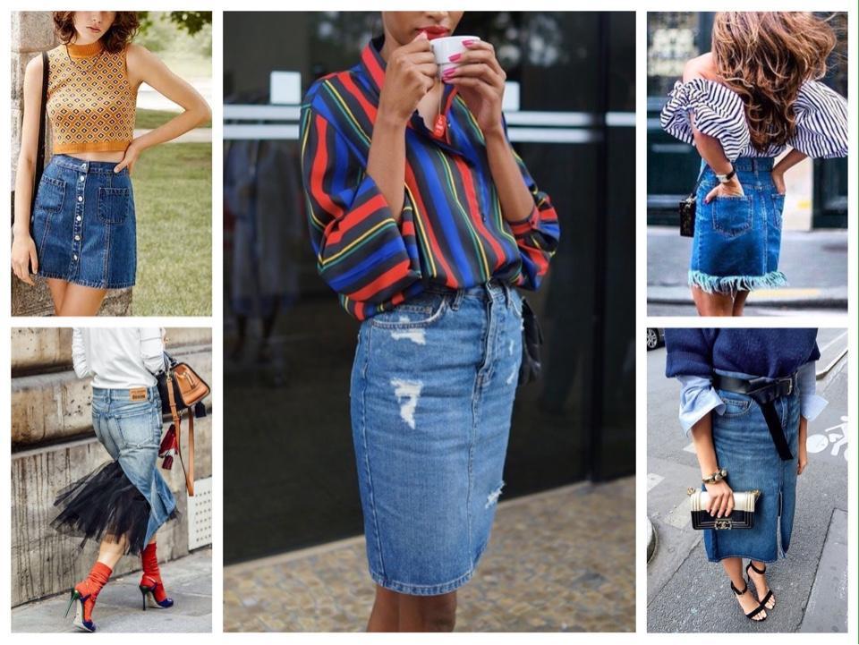 с чем носить джинсовую юбку фото