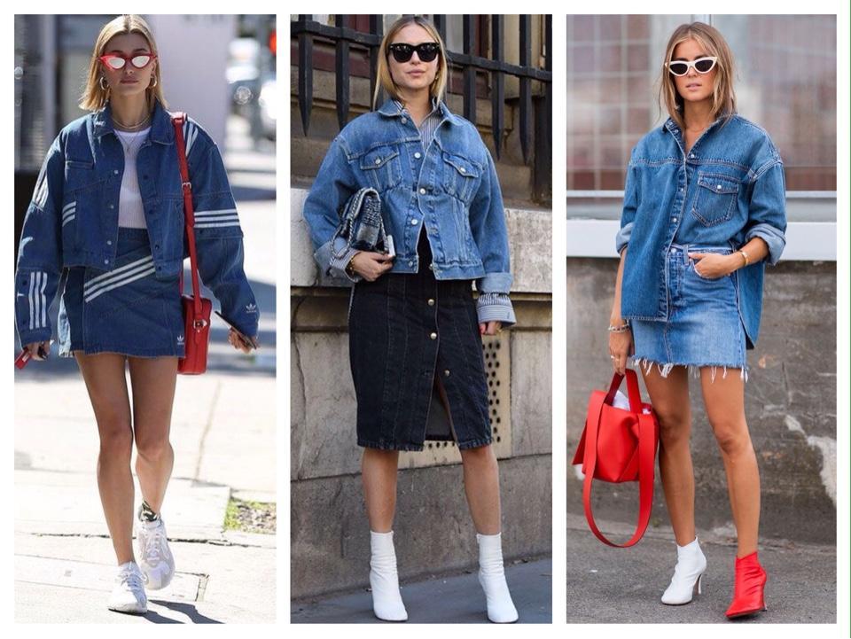 street style с джинсовой юбкой