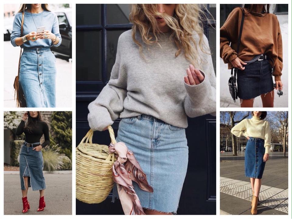 свитера свитшоты с джинсовой юбкой