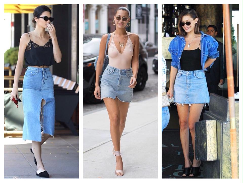 звездные образы с джинсовой юбкой