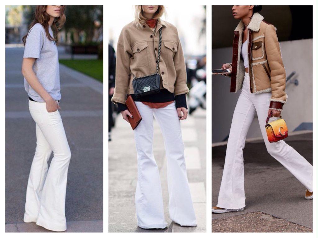 белые брюки клеш