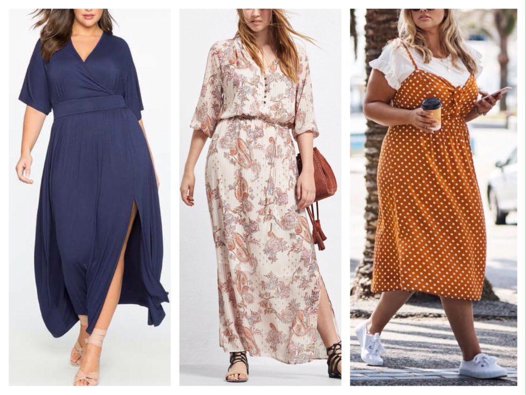 длинные модели платьев для полных