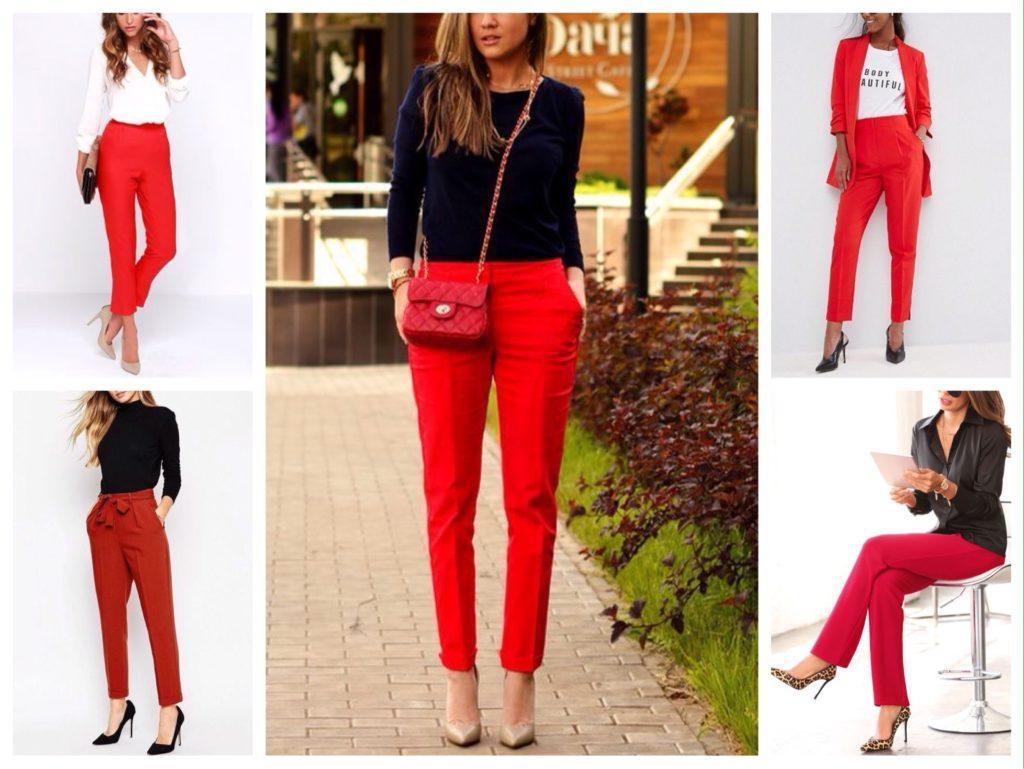 красные брюки классические модели