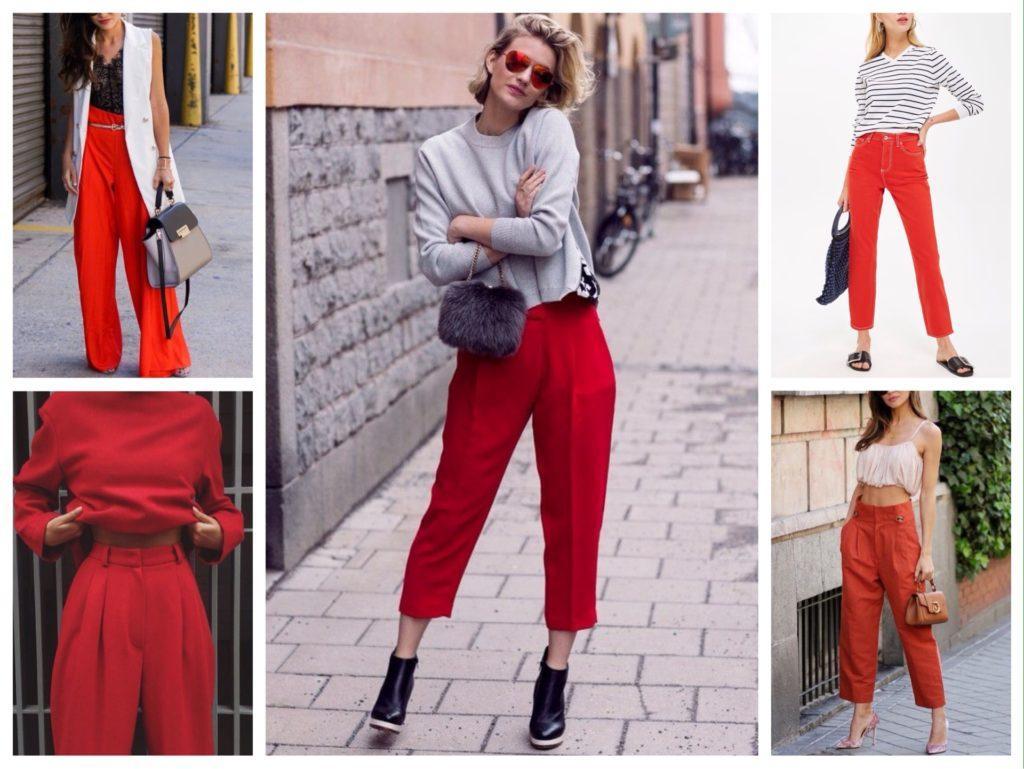 красные брюки фото моделей