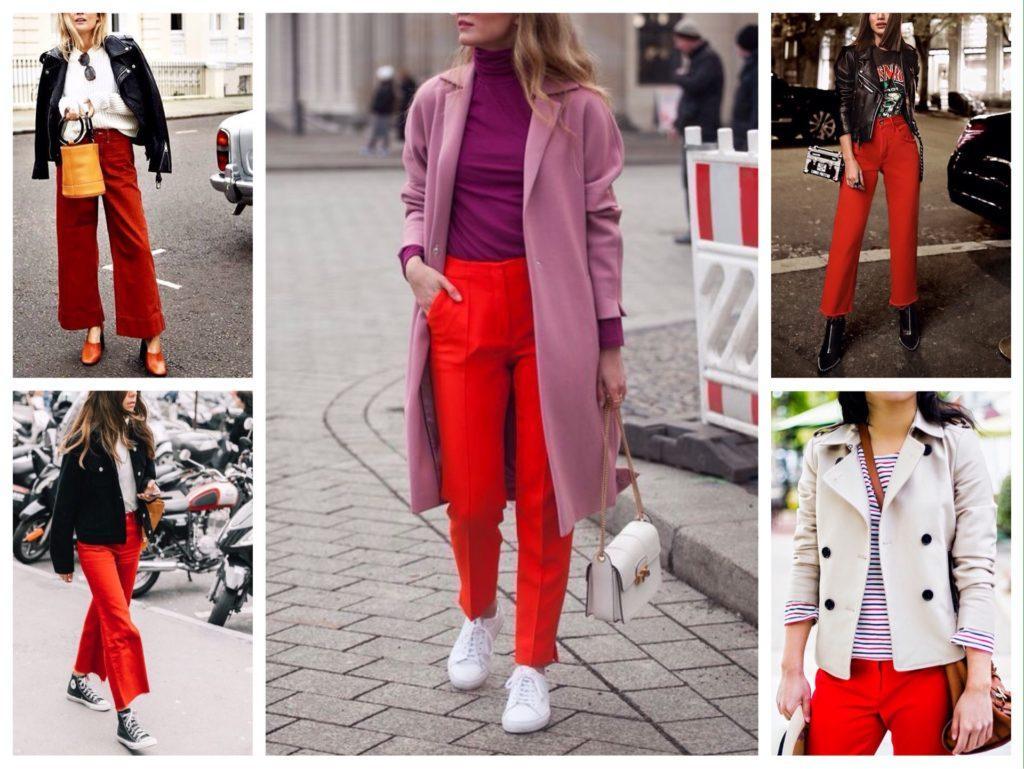 красные брюки в комплектах с верхней одеждой