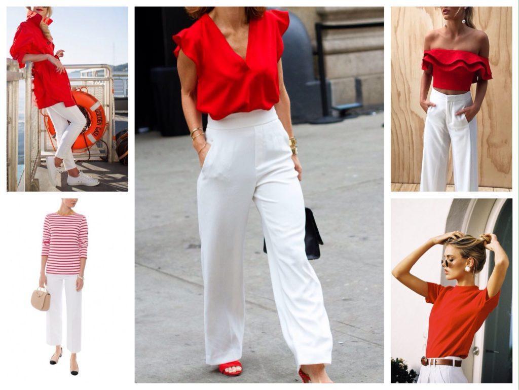 красный и белые брюки