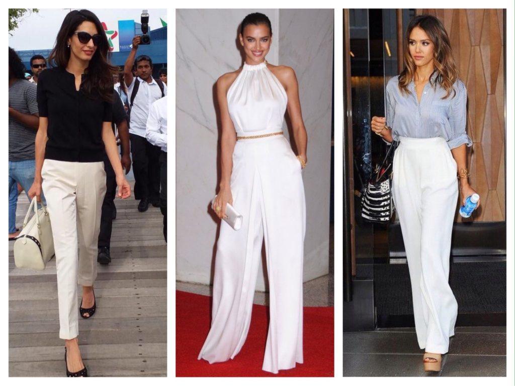 образы селебрити в белых брюках
