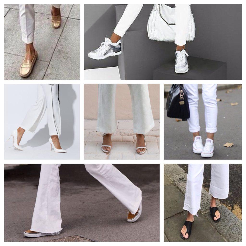 обувь с белыми брюками
