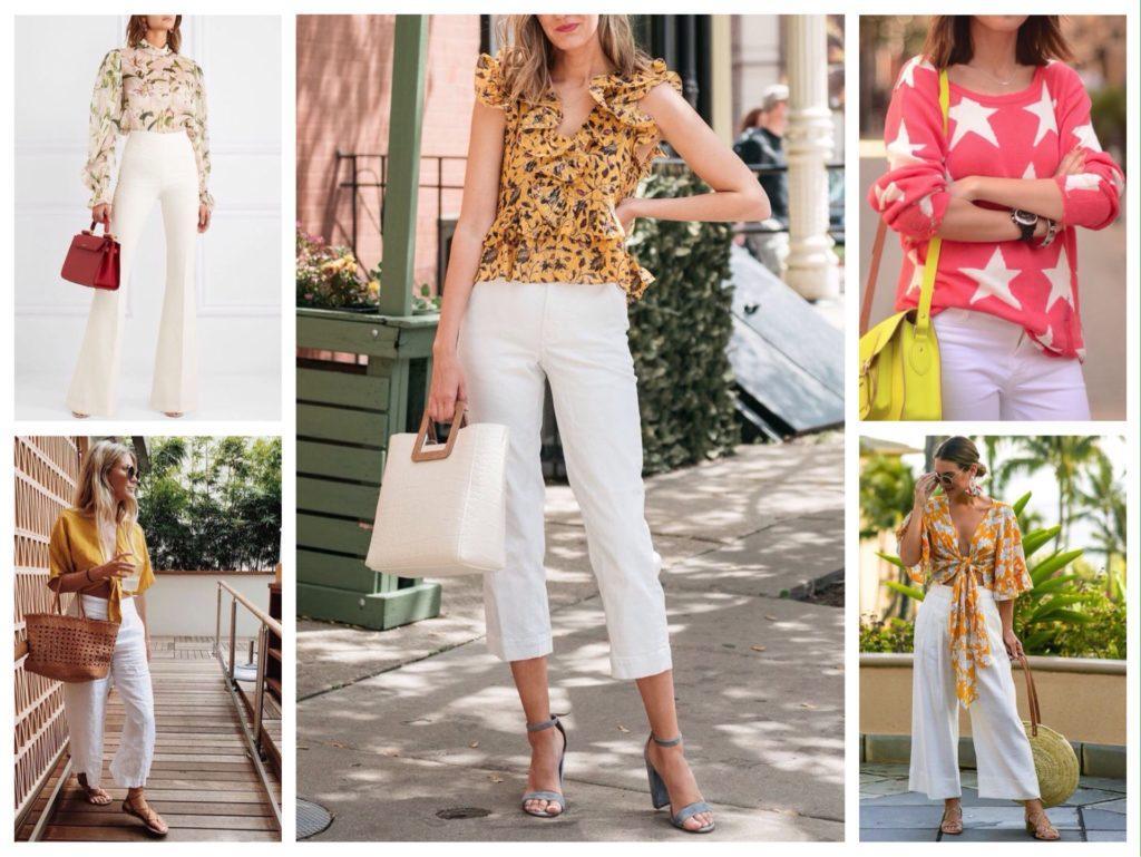 с чем сочетаются белые брюки