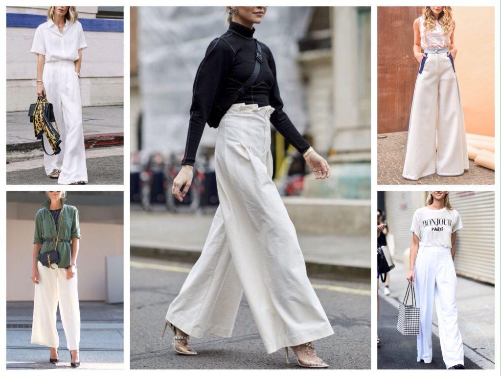 широкие брюки белого цвета