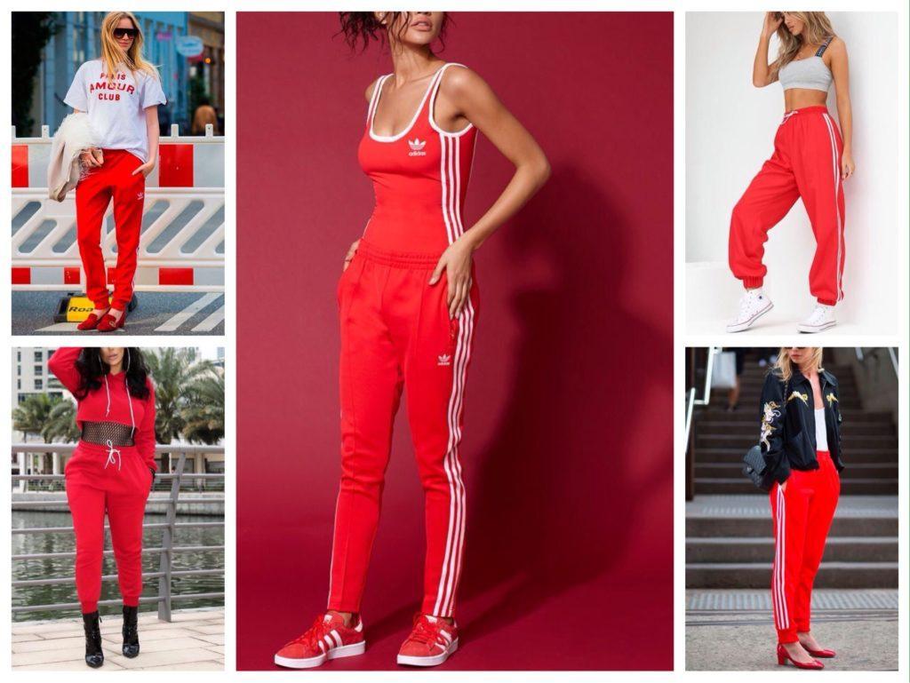 красные брюки спортивные модели
