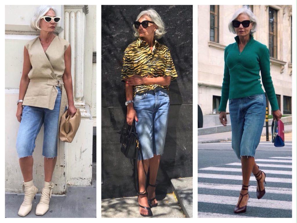 Образы с джинсовыми бермудами