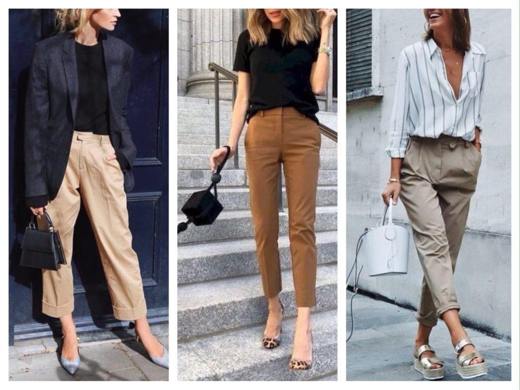 бежевые модели брюк