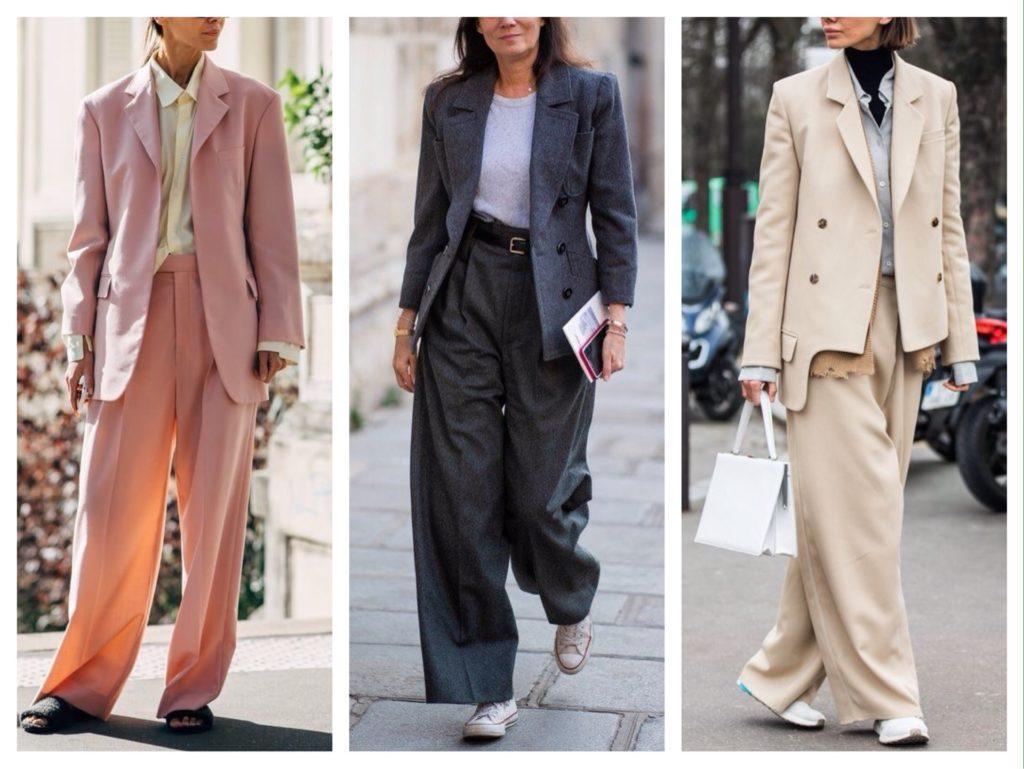 брючные костюмы street style