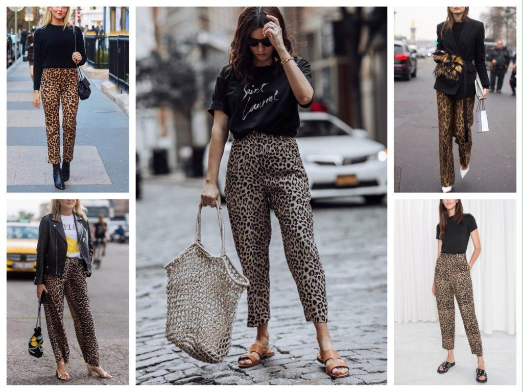 брюки в леопардовый принт