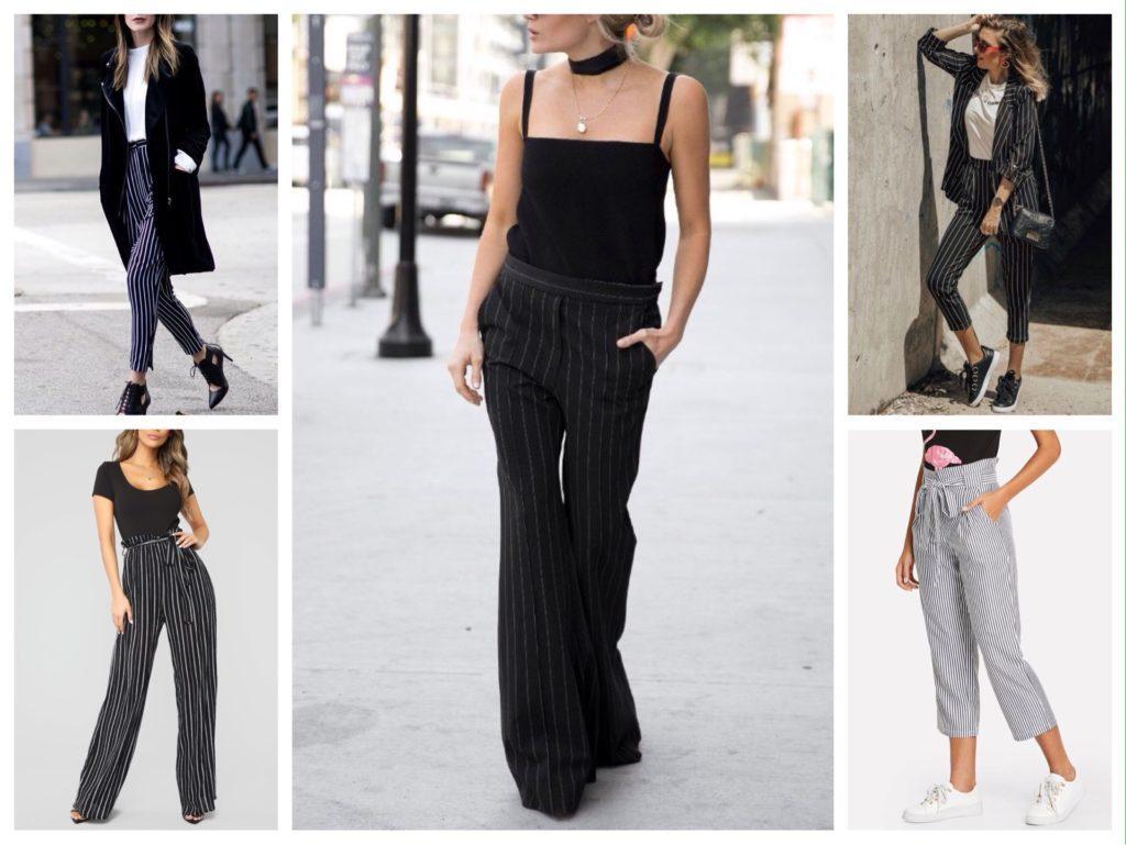 черно-белые брюки в полоску