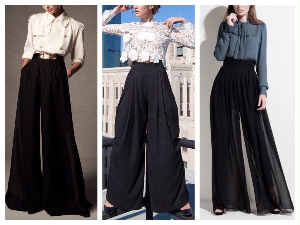 черные брюки палаццо