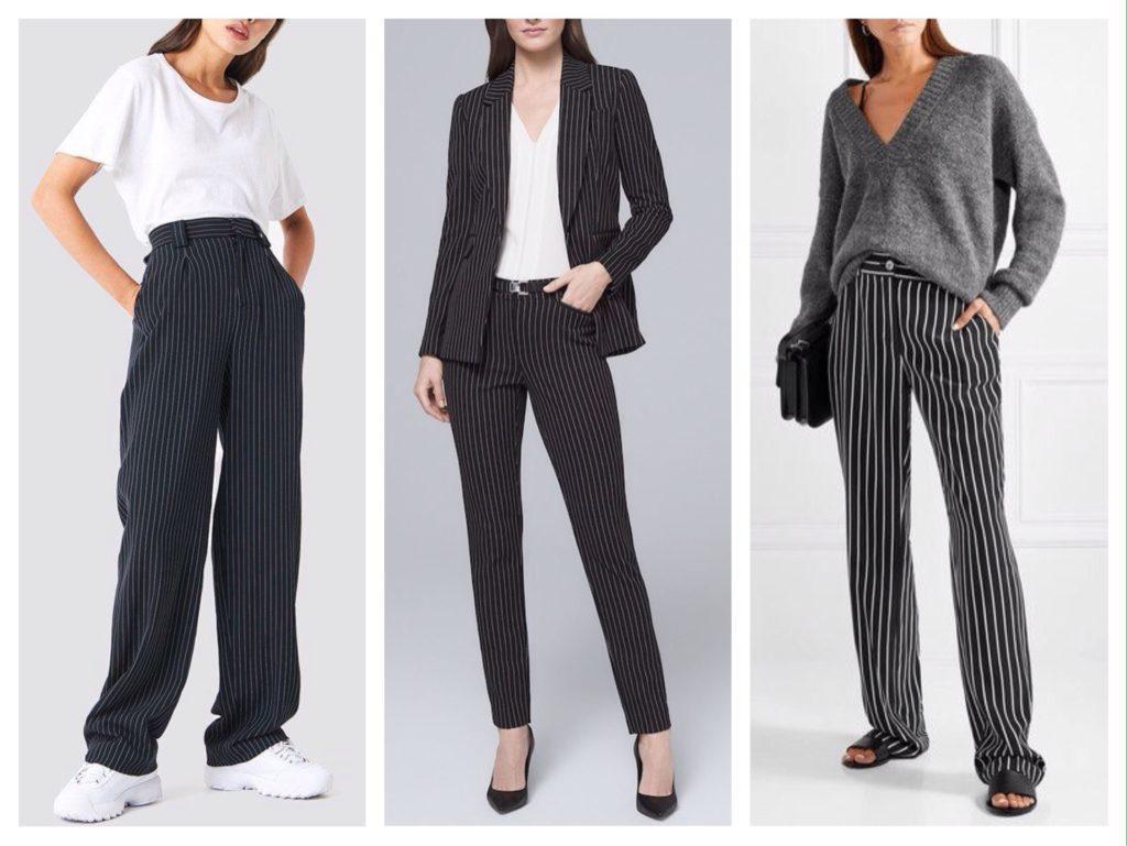 черные брюки в белую полоску