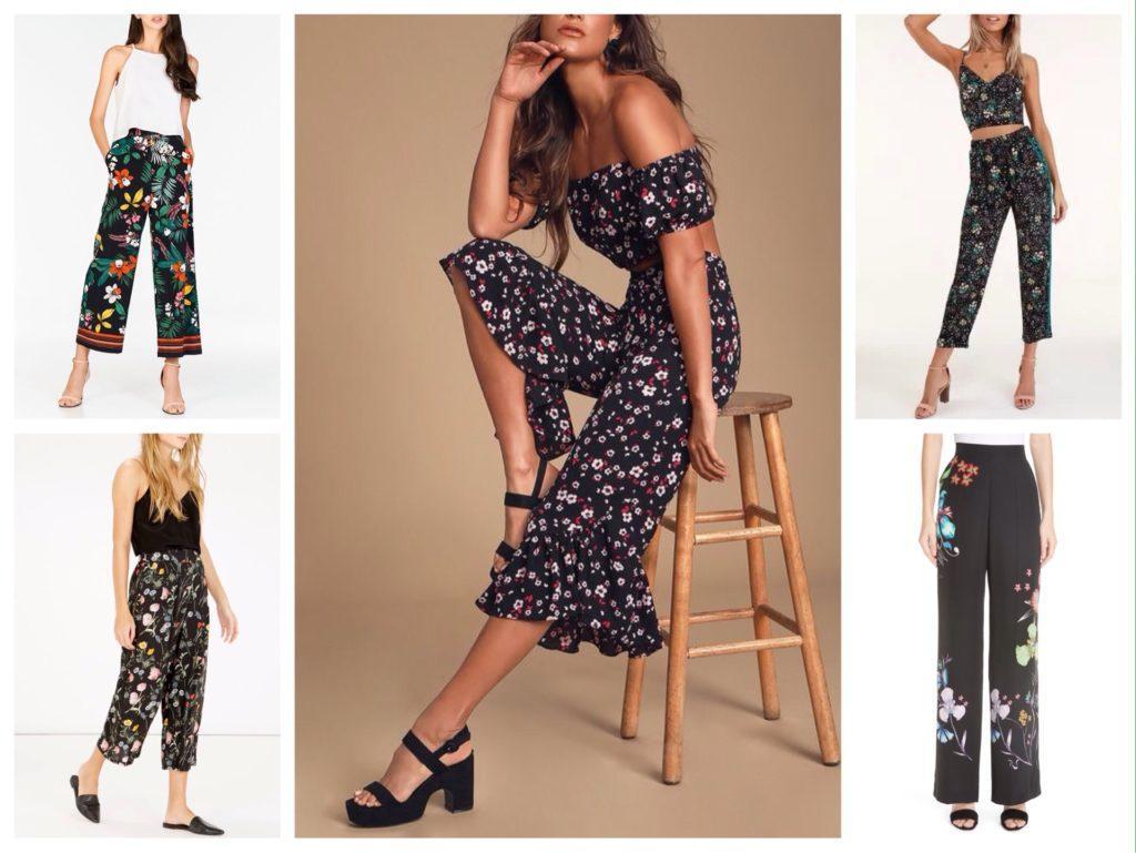 черные брюки в цветочек комплекты