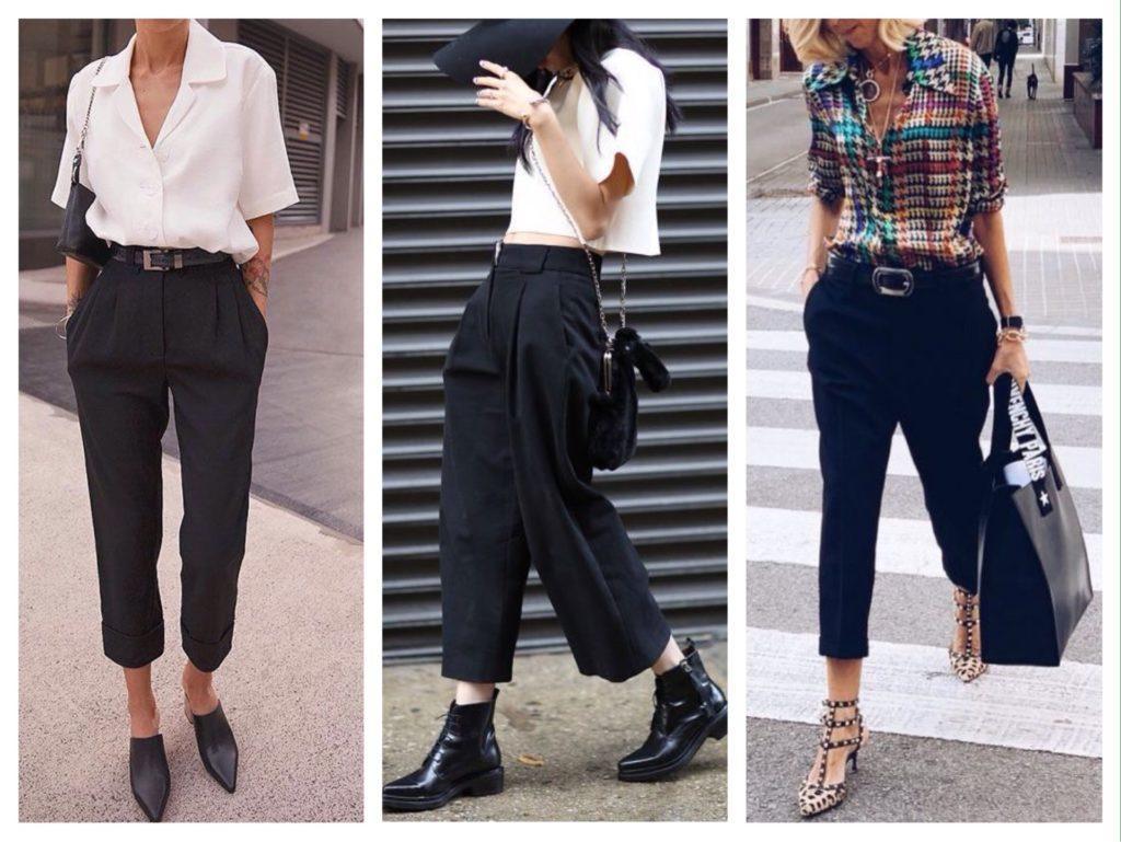 черные укороченные брюки фото