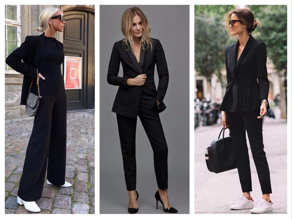 черный брючный костюм для женщины