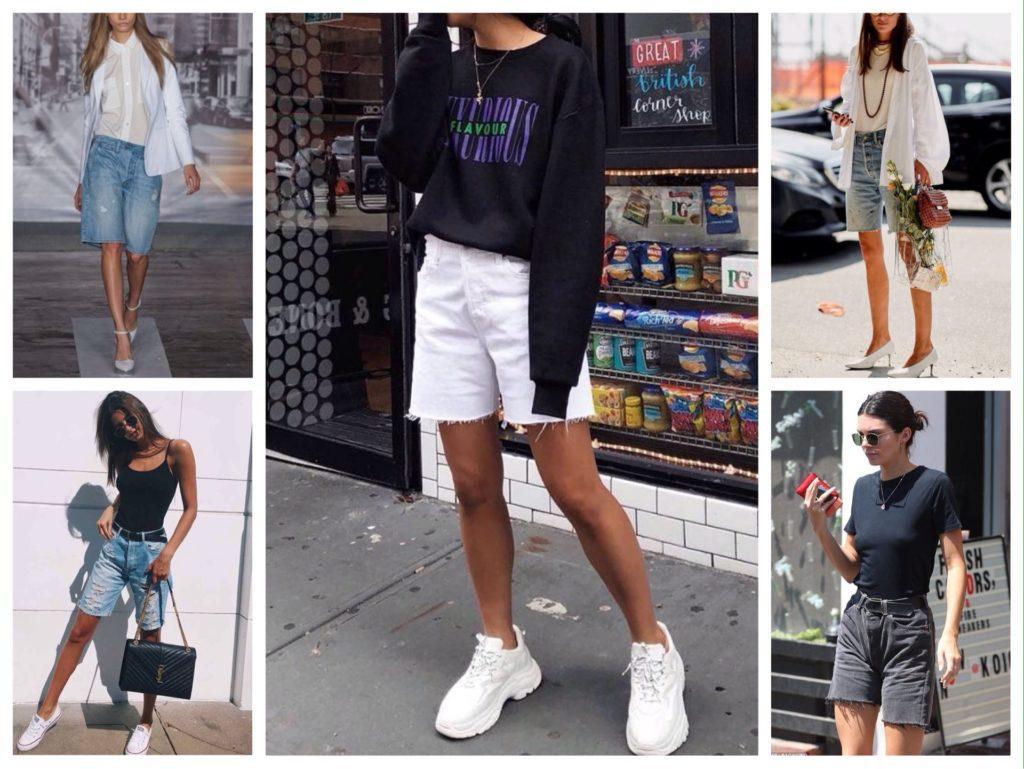 длинные джинсовые шорты варианты