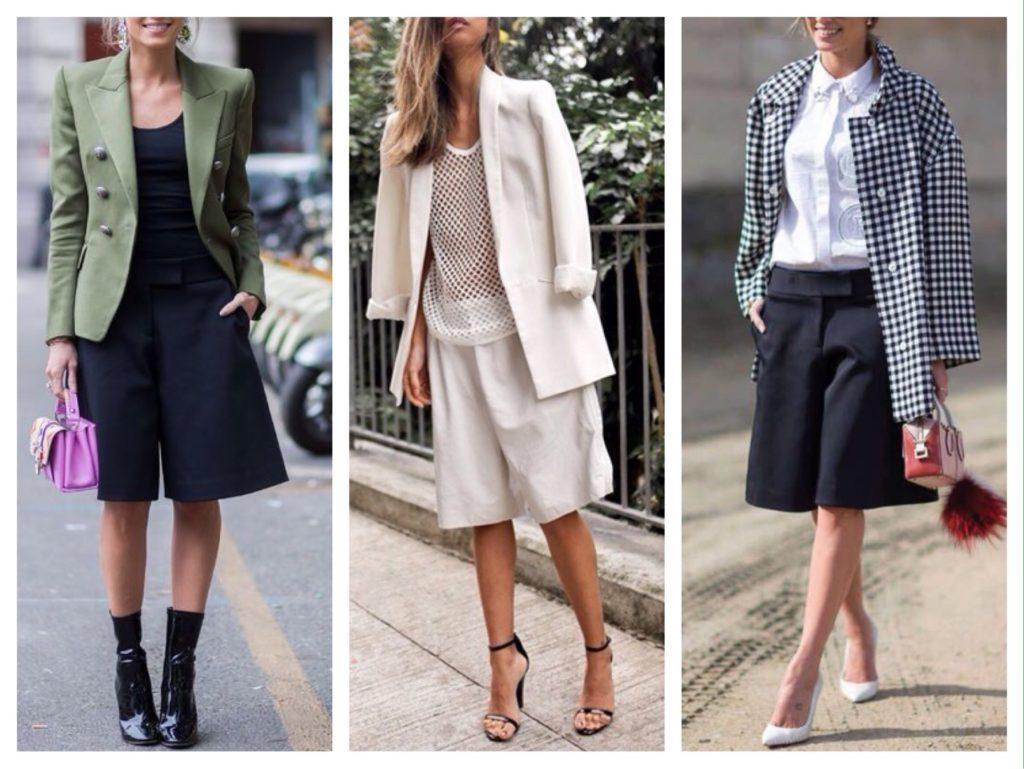городские комплекты с длинными шортами