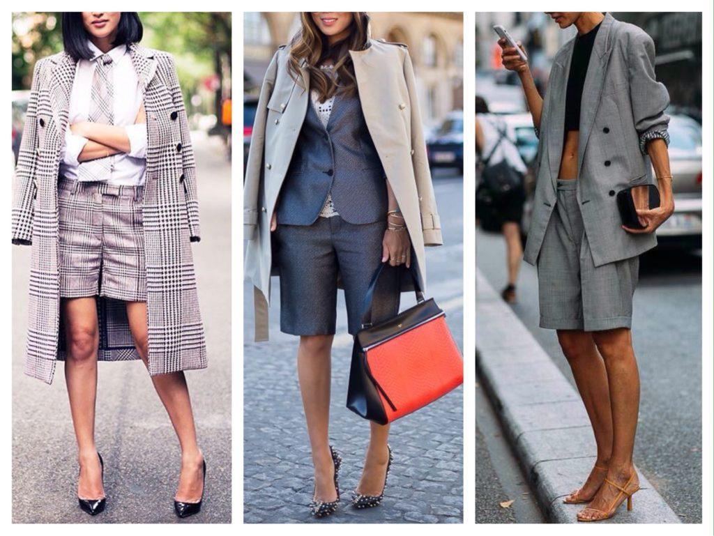 шорты с пальто и жакетами
