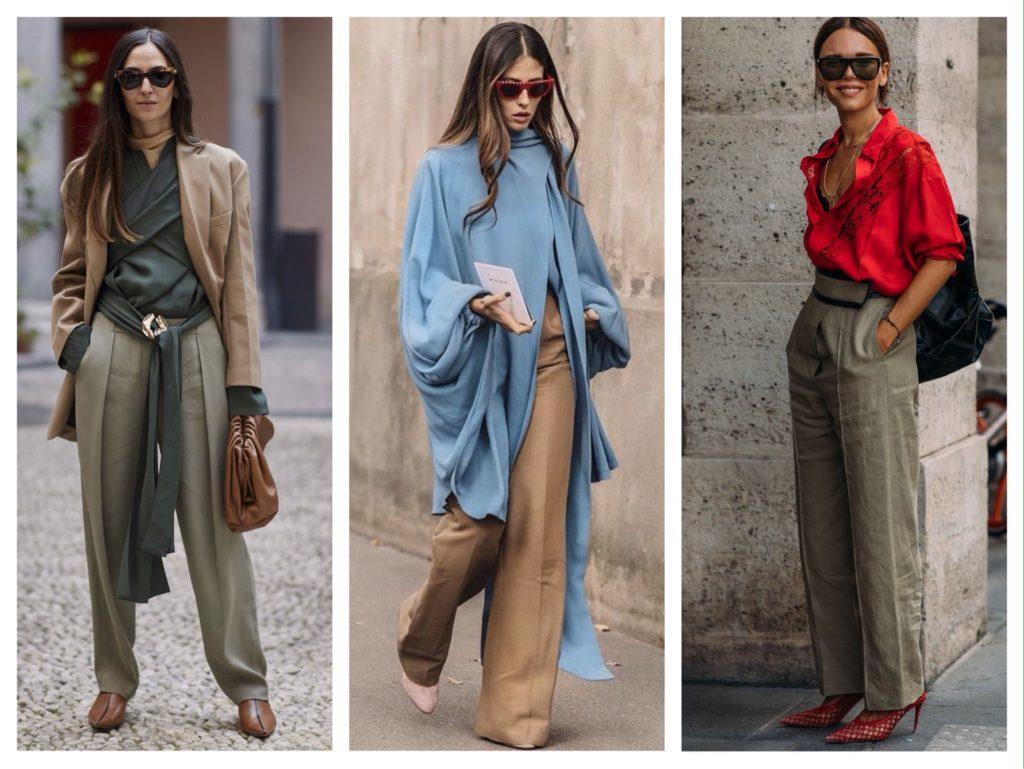 модные сочетания с широкими брюками
