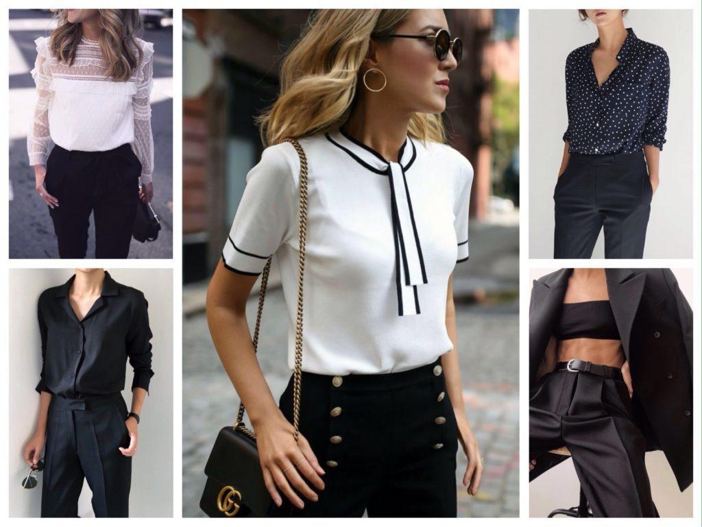 рубашки и блузы с брюками черного цвета