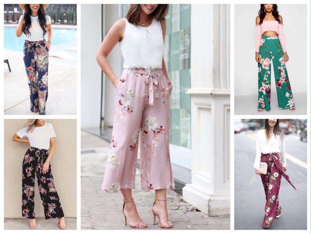 широкие брюки в цветок фото