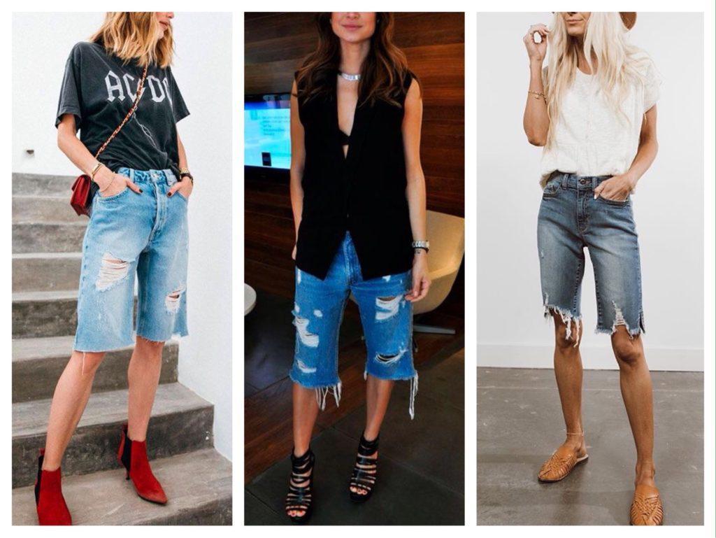 удлиненные джинсовые шорты фото