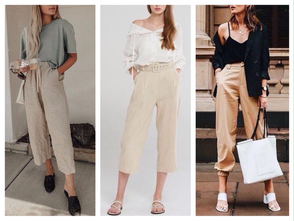 укороченные бежевые брюки