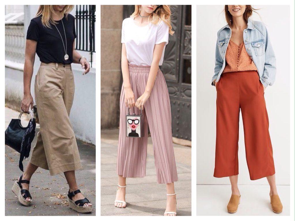 укороченные широкие брюки фото