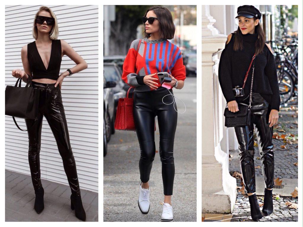 виниловые черные брюки