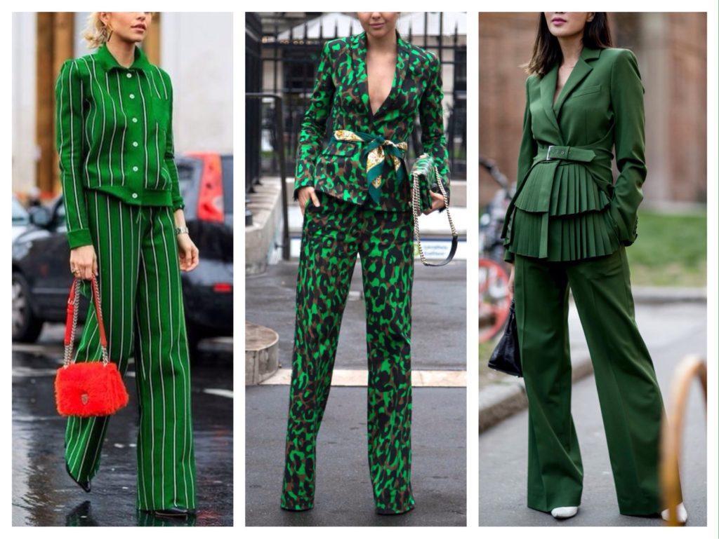 брючные костюмы в зеленом цвете