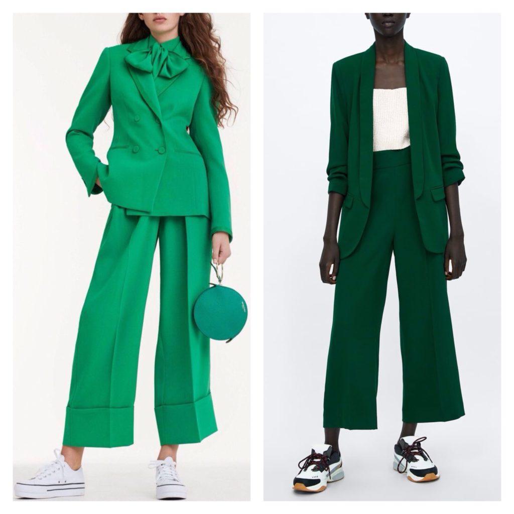 брючные костюмы в зеленых оттенках