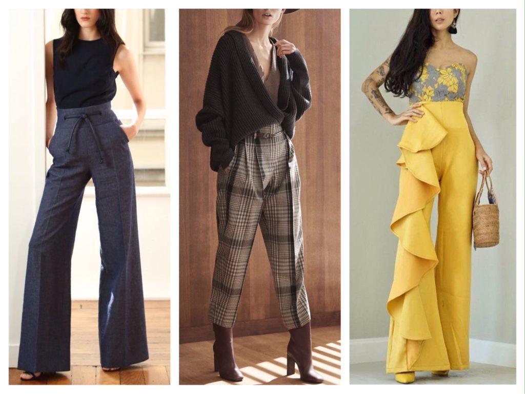 фасоны брюк с завышенной талией