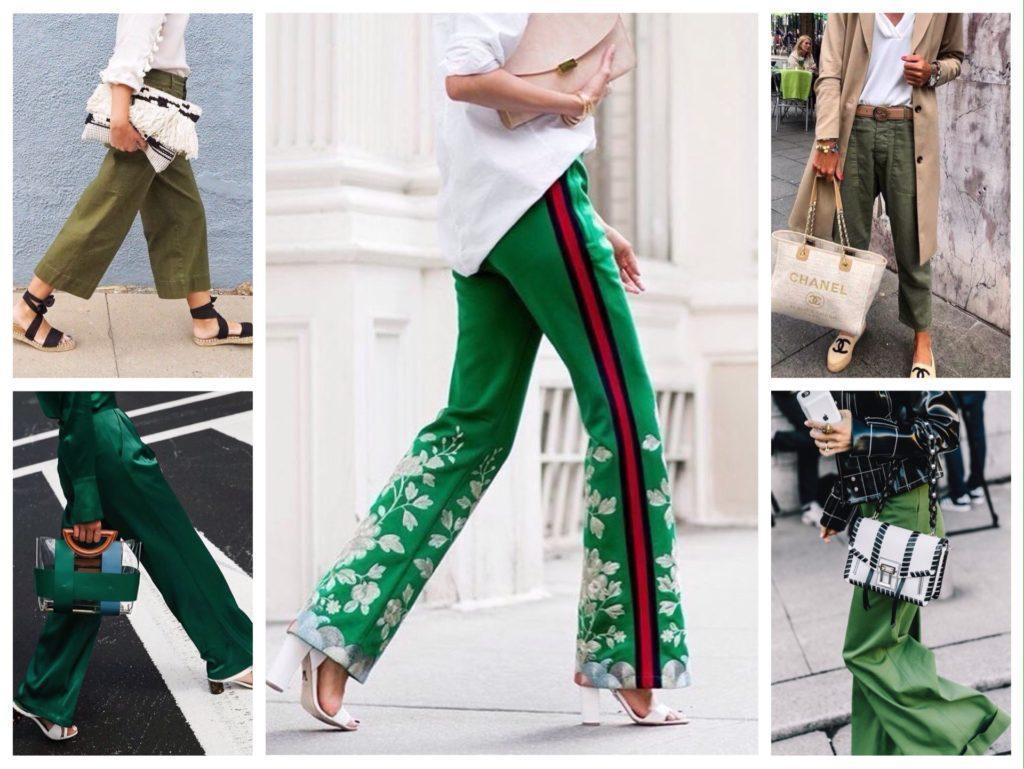 обувь и сумочки в комплектах с зелеными брюками