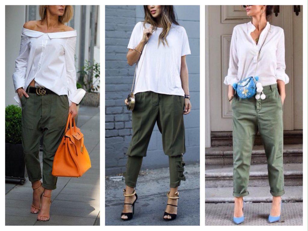 зеленые брюки с белым
