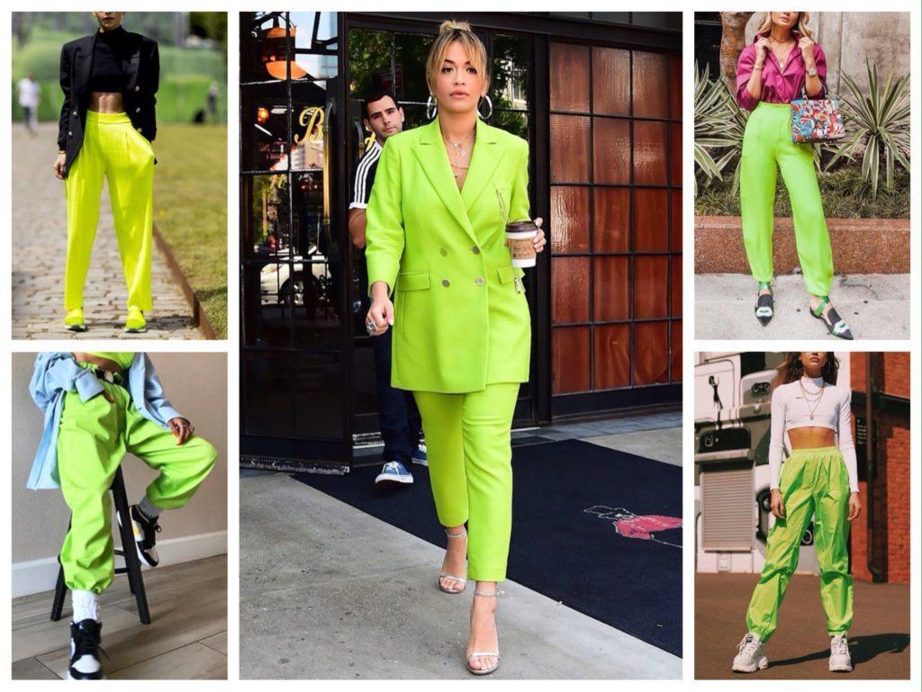 зеленый неон брюки