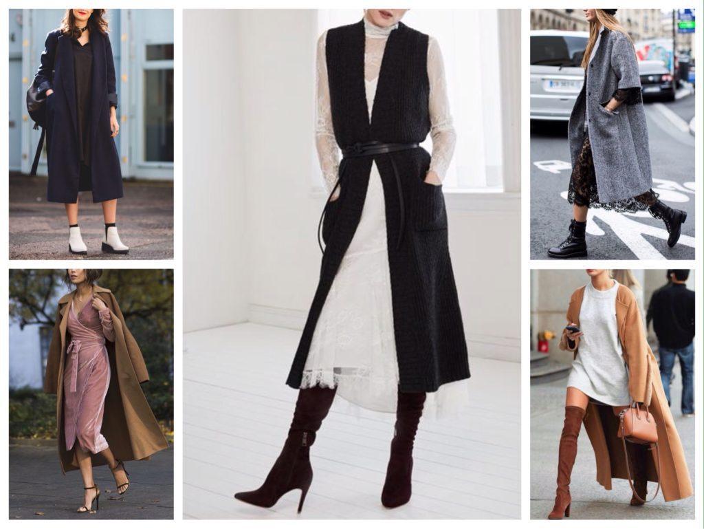 платье на осень пальто и обувь