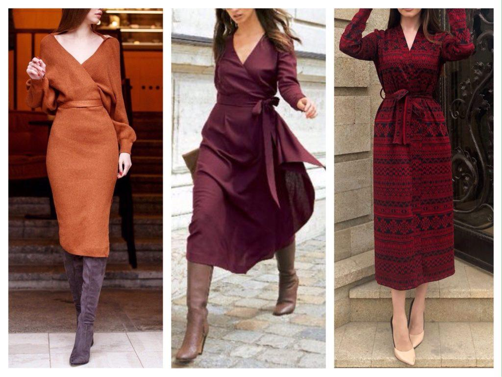 платья на запах на осень